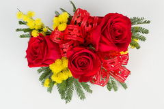 Roses bouquet arrangement top view Stock Photos