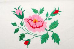 Roses as handicraft embroidery Royalty Free Stock Photo