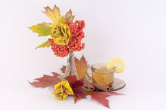 Roses from Autumn Leaves and tea. Beautiful decoration made from autumn leaves of roses and tea, lemon and cinnamonon a white background royalty free stock photography