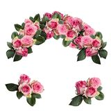 Roses roses avec la composition florale en feuilles d'isolement sur le blanc photographie stock libre de droits