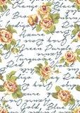 Roses avec le fond écrit Photographie stock libre de droits