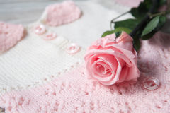 roses on a baby sweater Stock Photography