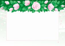 Roses background. Vector Border of  many pink roses and green leaves on abstract background with hearts Royalty Free Stock Photo