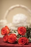 Roses before basket Royalty Free Stock Photography
