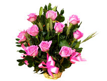 Roses basket. Roses bouquet in a basket, isolated with clipping path included Royalty Free Stock Image