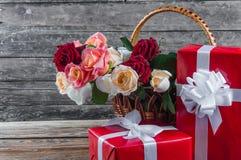 Roses in basket Stock Image