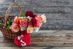 Roses in basket Royalty Free Stock Image