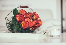Roses in basket on a table. A bouquet of roses in a basket on the table in a bright white room interior royalty free stock image