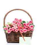 Roses in the basket Stock Photo