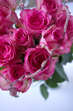 Roses and beads. Roses in half heart form with metal and beads structure Stock Photo
