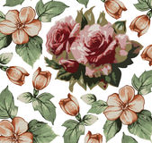 Roses apple pattern. Realistic isolated flowers. Vintage baroque background. Wallpaper. Drawing engraving.  Stock Photo