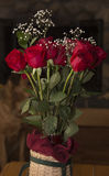 Roses. Beautiful Roses in a basket royalty free stock image