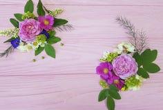 Roses beautiful border design vintage season frame on a pink wooden background jasmine, magnolia stock photography