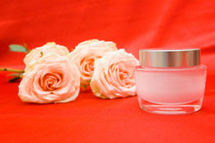 Roses and beauty cream Royalty Free Stock Images