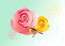 Roses and Bird Royalty Free Stock Image