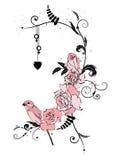 Roses, bird and heart Royalty Free Stock Photo