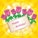 Roses for birthday with yellow vector background Royalty Free Stock Photos