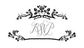 Roses black frame. Ornamental frame with roses. Solemn floral element for design banner,invitation, leaflet, card, poster and so on. Wedding or jubilee theme Royalty Free Stock Images