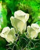 Roses blanches de mastic Photo libre de droits