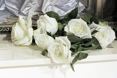 Roses blanches sur le piano photos stock
