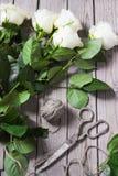 Roses blanches sur le Tableau en bois Images stock