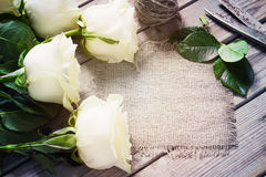 Roses blanches sur le Tableau en bois Images libres de droits