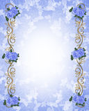 Roses bleues 3D d'invitation de mariage Photos stock