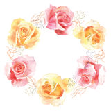 Roses in bloom watercolor decoration wreath. Watercolor illustration wreath of red and yellow roses. Can be used as a greeting card for background, wedding and Royalty Free Stock Photos