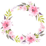 Roses in bloom watercolor wreath Stock Images