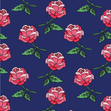 Roses on a blue background seamless background retro style  Stock Photos