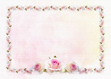 Roses vintage border background watercolor style. Stock Image