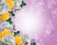 Roses Border Easter Colors. Image and illustration composition Corner roses design element for Valentine, Easter or wedding invitation, background, border or stock illustration