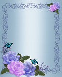 Roses Border Elegant wedding invitation. Blue, lavender roses Image and illustration composition design template for Valentine, birthday, wedding invitation stock illustration