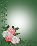 Roses Border pink and green invitation Stock Photos