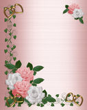 Roses Border pink white wedding stock illustration