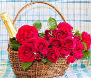 Roses and a bottle of champagne in a basket Royalty Free Stock Image
