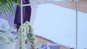 Roses bouquet arrange for wedding decoration.  stock video