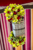 Roses bouquet in a basket Royalty Free Stock Photos