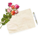 Roses bouquet and blank greeting card. EPS 10 Stock Photo
