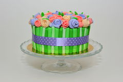 Roses bouquet cake on crystal plate Stock Image