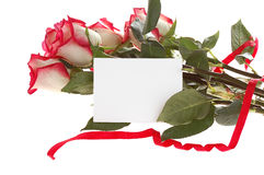 Roses bouquet with card Stock Image