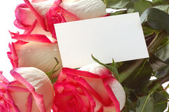 Roses bouquet with card Royalty Free Stock Photo