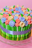 Roses bouquet fondant cake details Stock Photos