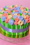 Roses bouquet fondant cake details Stock Photos
