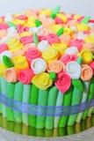 Roses bouquet fondant cake details Stock Images
