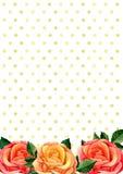 Roses bouquet frame . Watercolour flowers arrangement. Greeting card design template Stock Image