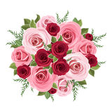 Roses bouquet. Illustration of bouquet of pink and red roses and leaves Stock Photo