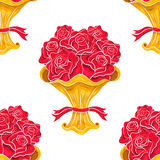 Roses bouquet seamless pattern on white. Vintage vector roses bouquet seamless pattern. Sketchy illustration. Abstract background. Flowers pattern. Retro pattern Stock Photo