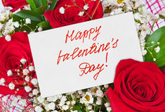 Roses bouquet and Valentines day card. Celebration background Stock Photos