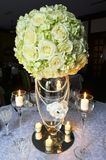 Wedding table with flowers decoration Stock Photos